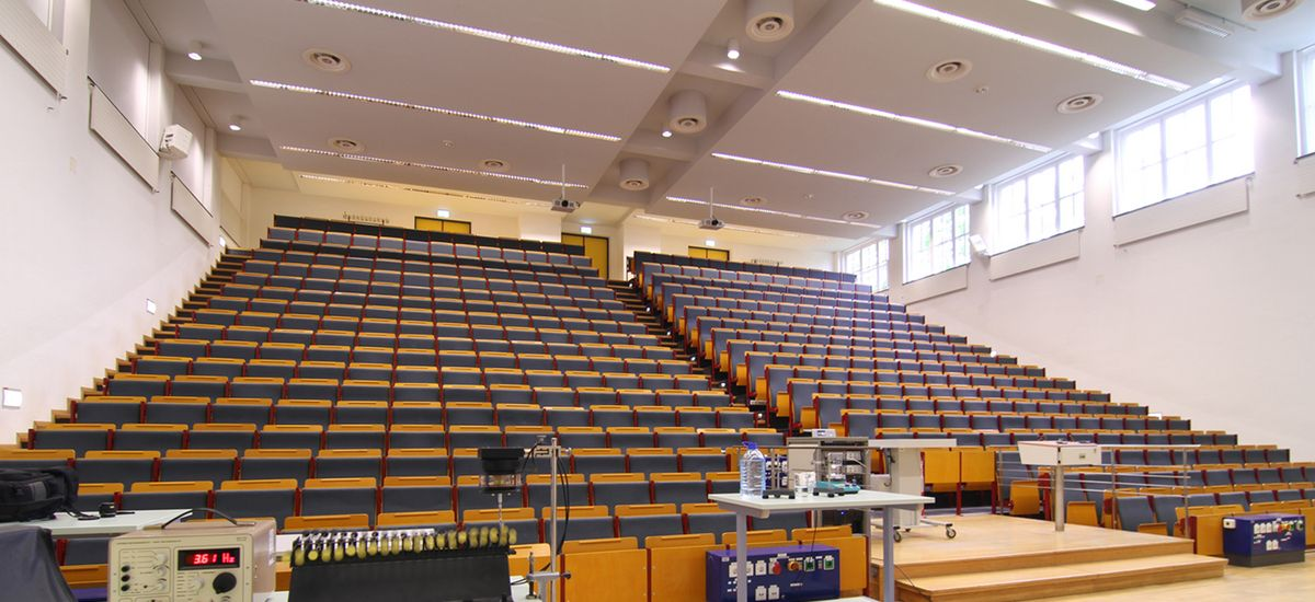 View of the Large Lecture Hall at Linnéstraße 5 from below