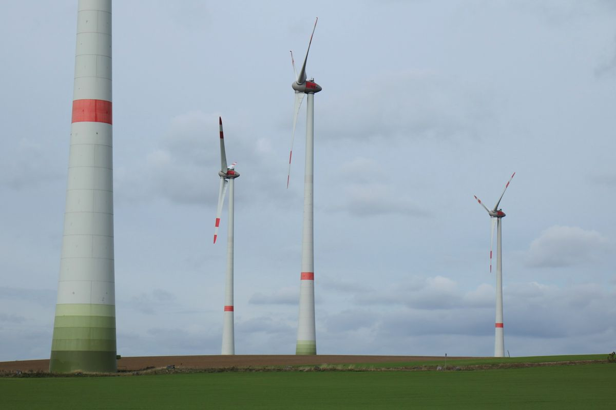 Four wind turbines stand in a field. Photo: Uwe Päsler / Town council Riesa